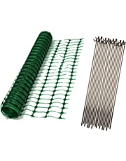 Oypla 1m x 50m Green Mesh Safety Barrier Fencing & 10 Fencing Pins