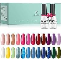 TOMICCA 24 * 8ml Gel nagellak set, 24 kleuren UV nagellak met 2 * 10ml Base Coat en Top Coat, Naakt en Glitter Roze Lila…