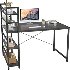 Homfio Computer Desk with Shelves, 47 inch Modern Writing Study Desk with Storage Shelf, Study Table Work Desk for Small Space Desk with Shelf Office Bookshelf Corner Desk Easy Assemble, Black