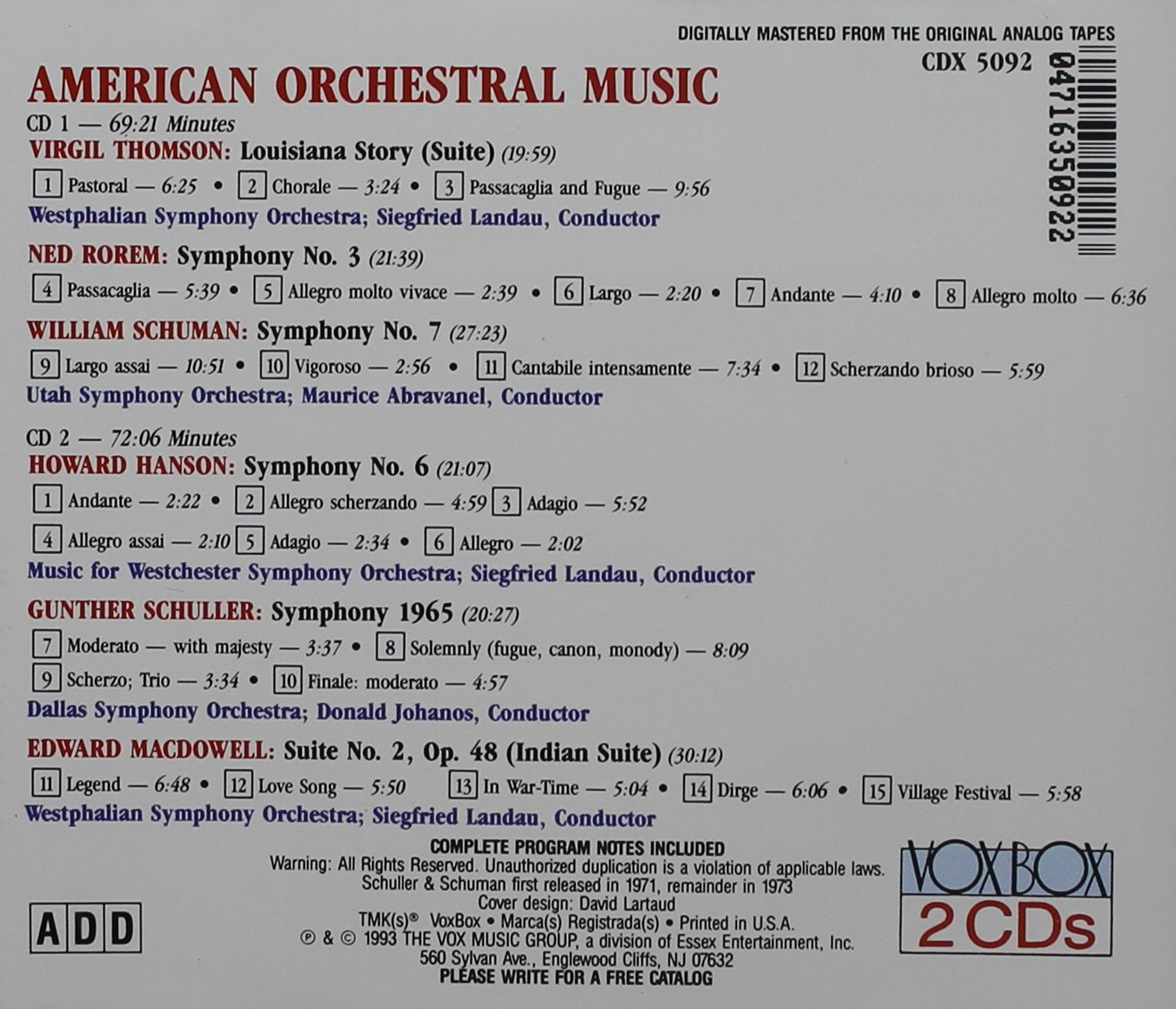 American Orchestral Music / Various by Vox