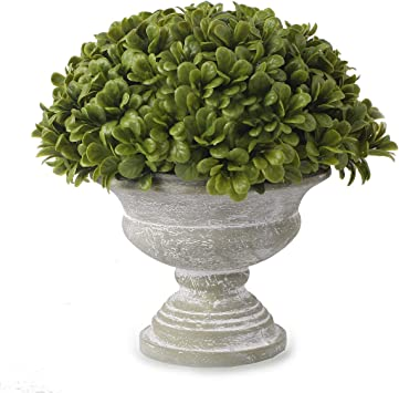 Amazon Com Blooming Paradise Artificial Plant Topiary Ball Boxwood Ball With Grecian Urn Planter For Front Patio Garden Home And Wedding Decor Artificial Plant Furniture Decor