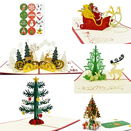 Magic Ants 5 Cards Set 3D Pop Up Christmas Card Bulk Greeting With Envelopes