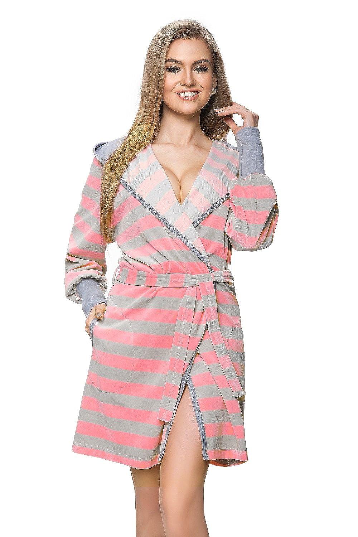 Bindeband /& Kapuze DOROTA kuscheliger und moderner Baumwoll-Bademantel mit Taschen verschiedene Modelle