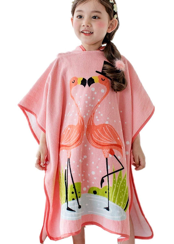 Hooded Towel for Girls, Kids Toddler Cotton Animal Hooded Poncho Bath/Beach/Swim/Pool Towel Bathrobe Animal for Girls 1-8 Year (Pink Flamingo)