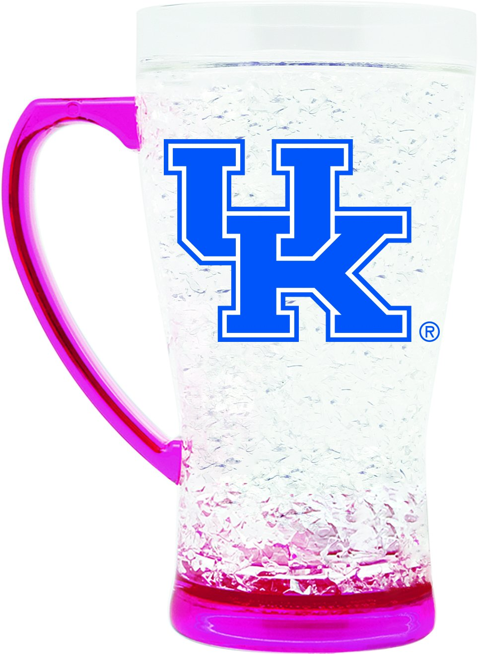 NCAA Kentucky Wildcats 16oz Crystal Freezer Flared Mug with Pink Base and Handle Duck House Sports LFMP