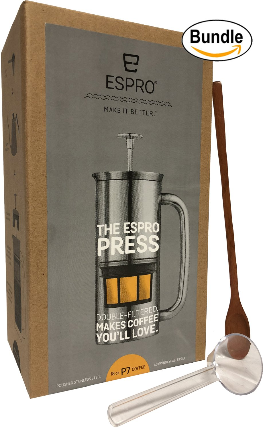 Espro Coffee Press P7-18 oz Double Wall Vacuum Insulated Polished Stainless Steel Coffee Press, Zonoz One-Tablespoon Plastic Clever Scoop & Zonoz 8.25-Inch Wooden Stirring Spoon Bundle by Espro (Image #4)
