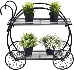 Safstar Metal Plant Stand, Two Tiered Garden Cart Shelf for Indoor Outdoor Home Garden Patio, Parisian Style Flower Pot Holder, Stable and Durable