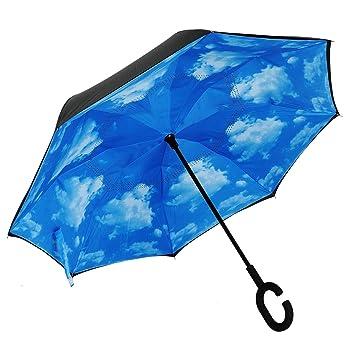 Doble capa de paraguas invertido coches paraguas reversa, protección contra el viento impermeable gran paraguas