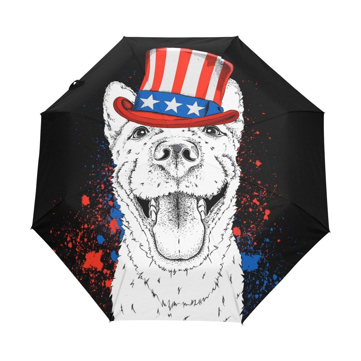 Senya Saobao防風と防雨トラベル傘と自動開いて閉じFolding犬in Hat with American Flagポータブル折りたたみ式太陽雨傘 B07FDWC7HL