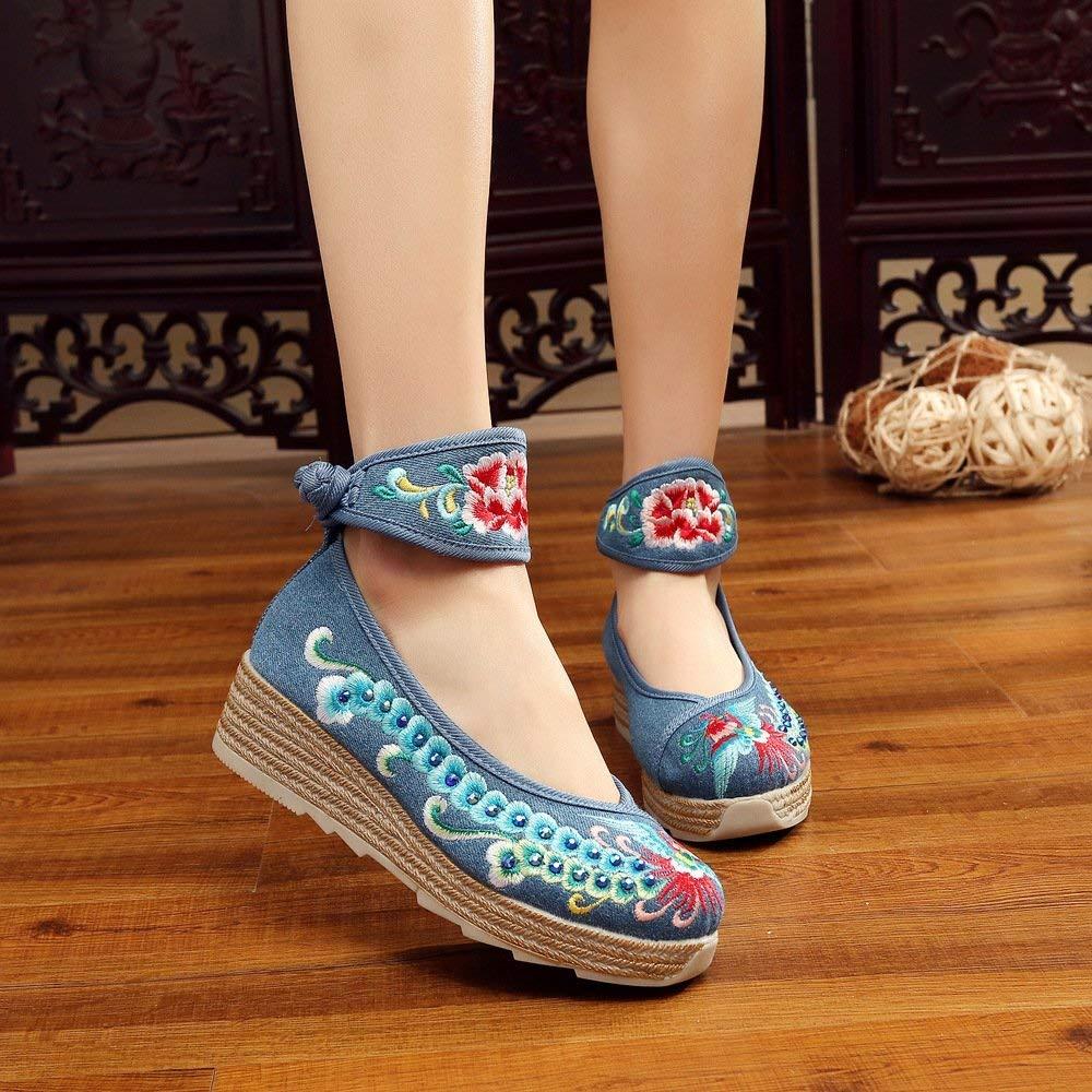 Moontang Bestickte Schuhe Leinen Sehnensohle Ethno-Stil Erhöhte Damenschuhe Mode bequem lässig blau 39 (Farbe   - Größe   -)