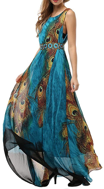 Salamaya Damen Chiffonkleid Gedruckt Urlaub Langes Kleid Maxi Böhmen Cocktaikleid Strandkleid Swing Kleid Sommerkleid