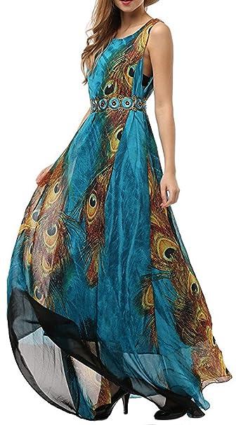 Salamaya Mujer Gasa Patrón Vestido Fiesta Largo Maxi Bohemio Vestido de Playa Noche Vestido de Oscilación