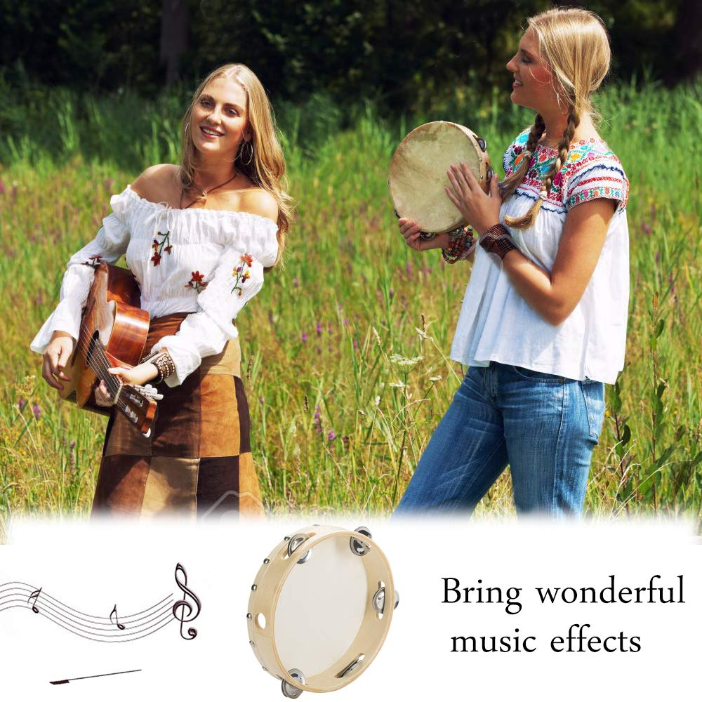 MHMJON Wood Handheld Tambourine Frame Drum 8 inch 5 Pairs Single Row Jingles for Church Party Prop Adults and Kids Percussion