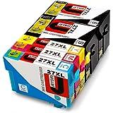 JETSIR Compatibile Cartucce d'inchiostro Sostituzione per Epson 27, Alta Capacità Compatibile con Epson Workforce WF-3640 3620 7610 7110 7620 Stampante (2 Nero,1 Ciano,1 Magenta,1 Giallo)