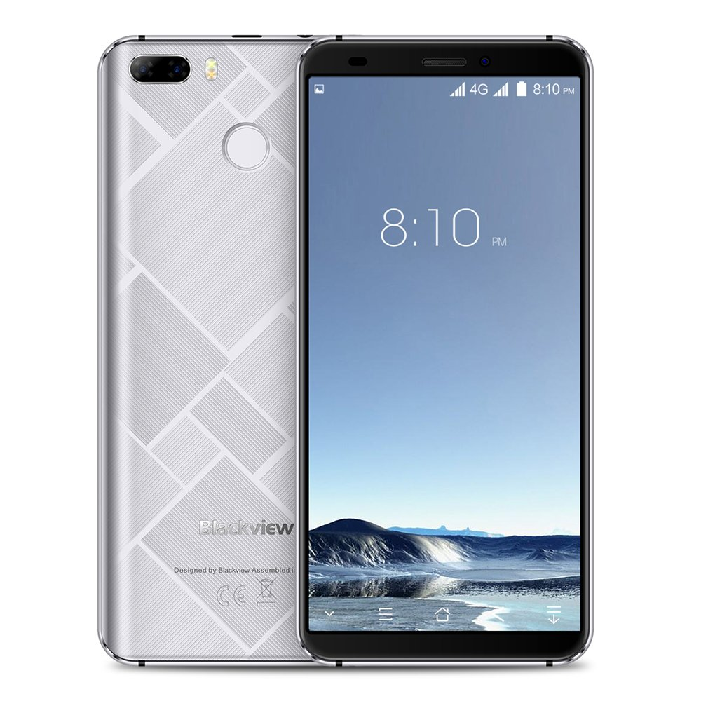 Blackview S6 - Cheap Mobile Phone Android 7.0 4G Smartphone Dual-SIM 5,7 Zoll 18:9 Display 4180mAh Batterie Quad Core 1,3GHz 2GB RAM 16GB ROM 8MP+0.3MP Dual Rückkameras 5MP Frontkamera Fingerabdruck - Silber