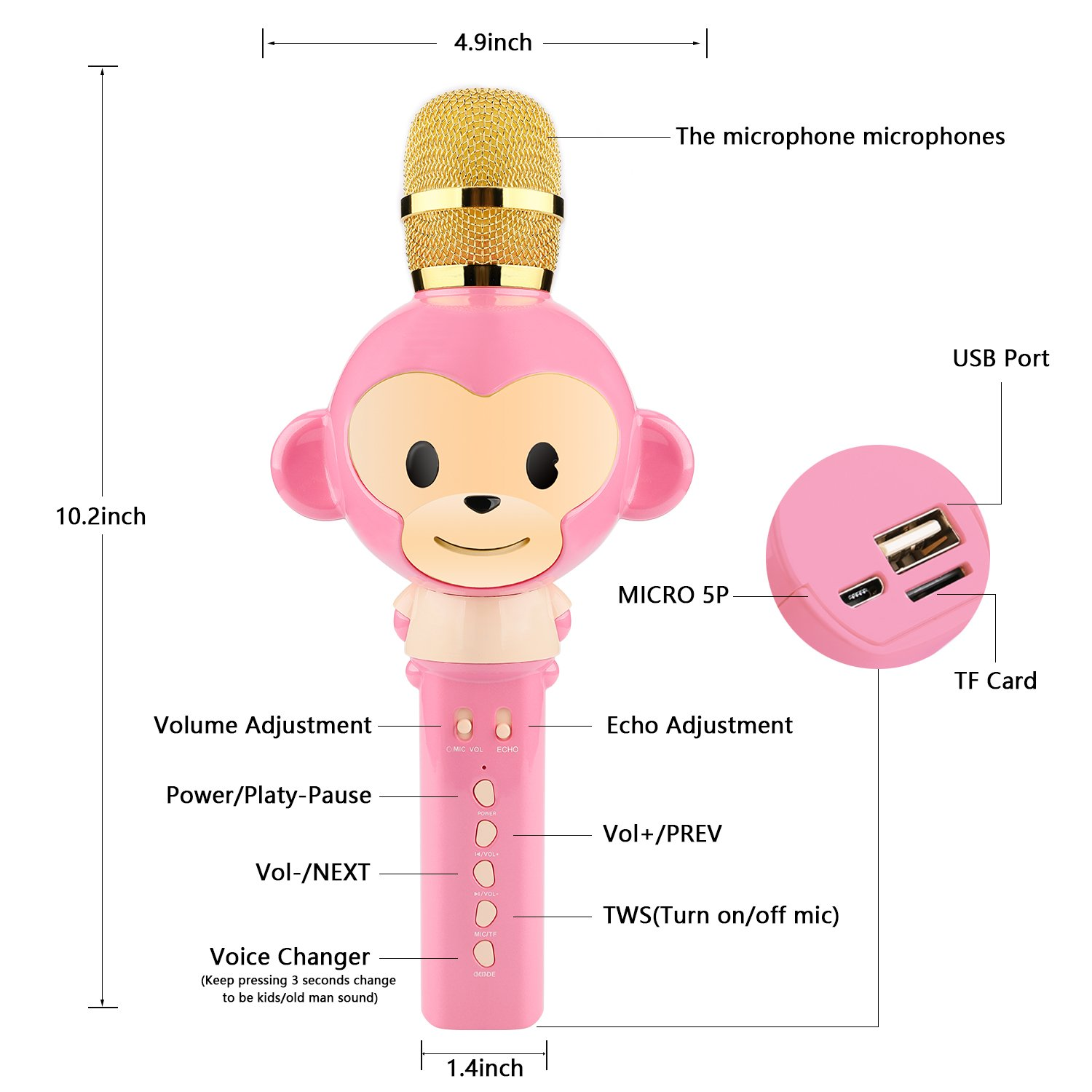 Microphone for Kids Children Karaoke Microphone Bluetooth Wireless Microphone Portable Handheld Karaoke Machine Toys Gifts Singing Recording Home KTV Party iPhone Android PC Smartphone (Pink) by Seelin (Image #2)