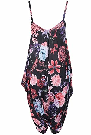 f72958df693 Islander Fashions Women Sleeveless Strappy Printed Lagenlook Romper  Jumpsuit Ladies Fancy Cami Baggy Harem Playsuit Dress S 3XL  Amazon.co.uk   Clothing