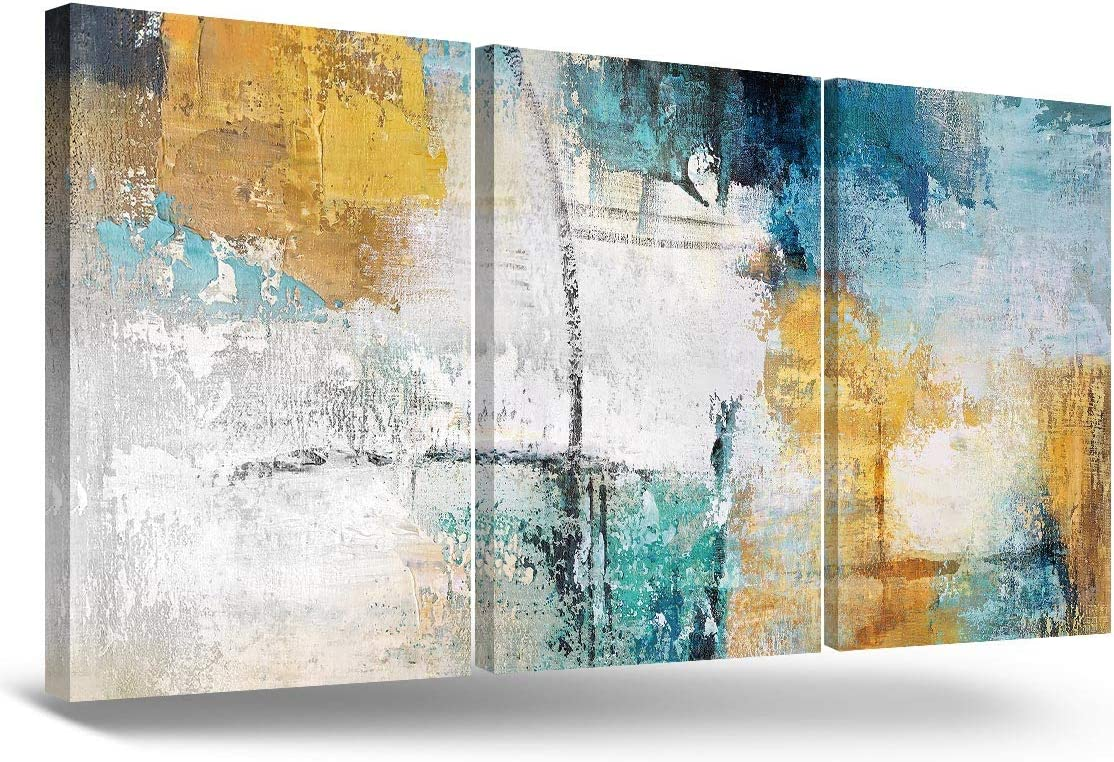 RAMEER 3 Piece Canvas Wall Art Yellow Blue Teal Grey Modern Abstract Artwork Painting Prints Colorful turquoise Décor for Living Room Bathroom Office Home Decorations