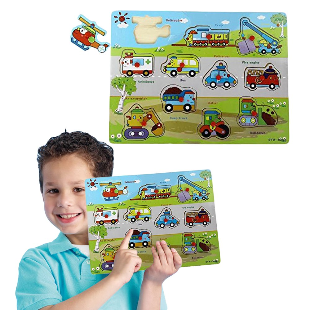 2 to 3 inches vehicles puzzle piece Toy Cubby Kids Toddler Wooden Pegged Vehicle Puzzle Board Set