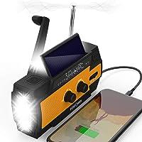 FosPower [2020 Upgraded Version] 4000mAh Emergency Solar Hand Crank Portable Radio, NOAA Weather Radio Power Bank USB…