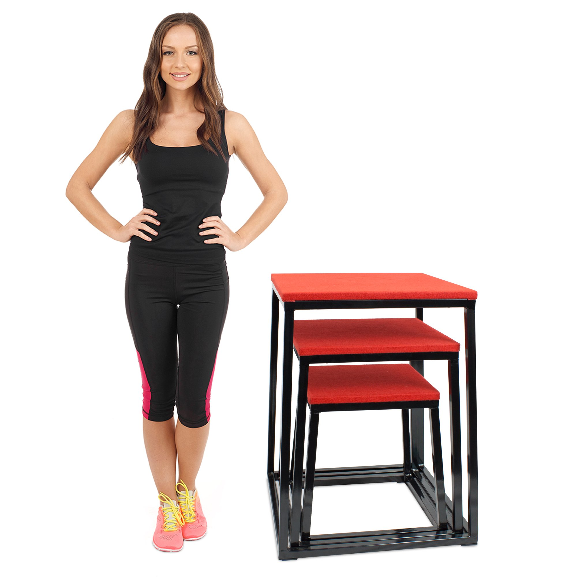 Set of 3 Plyometric Jump Boxes – Step Platform, Fitness Training & Conditioning Equipment for Increasing Vertical, Speed, & Stamina (18''/24''/30'') by Crown Sporting Goods by Crown Sporting Goods (Image #2)