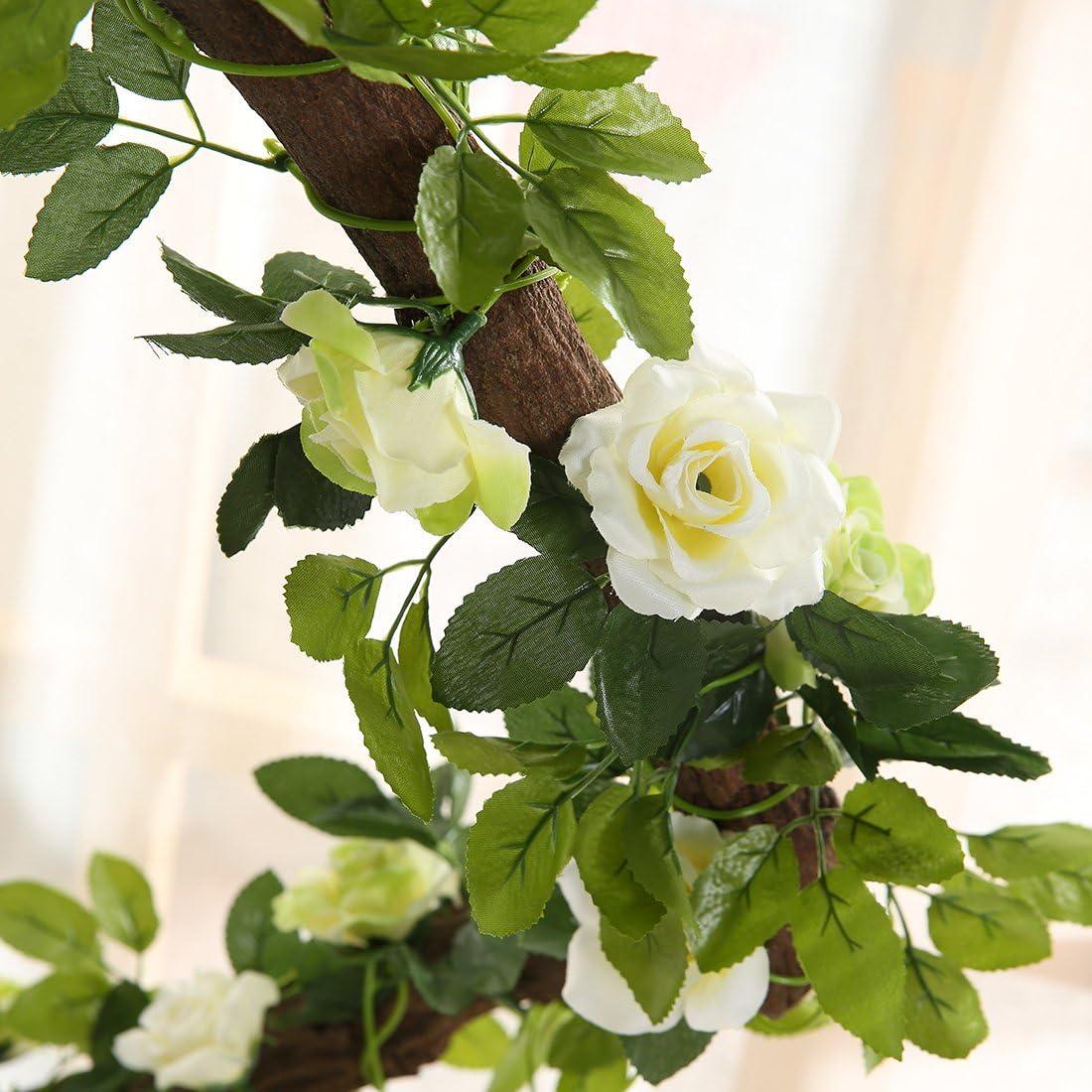 mit Bl/ättern Justoyou k/ünstliche Rosengirlande 2er Pack wei/ß H/ängedeko f/ür Hochzeiten