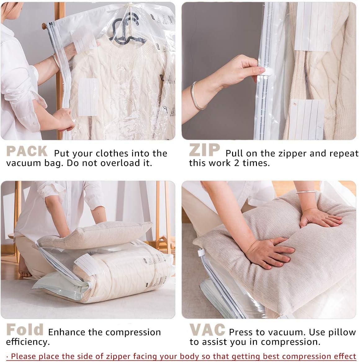 Kleiderschutz-Organizer Ideal f/ür Kleidung Anz/üge Hi Storage H/ängende Vakuum Aufbewahrungsbeutel( 2 St/ück 135 x 70 cm /& 2 St/ück105 x 70 cm ) 5-Ringen-Design Jacken Kleider
