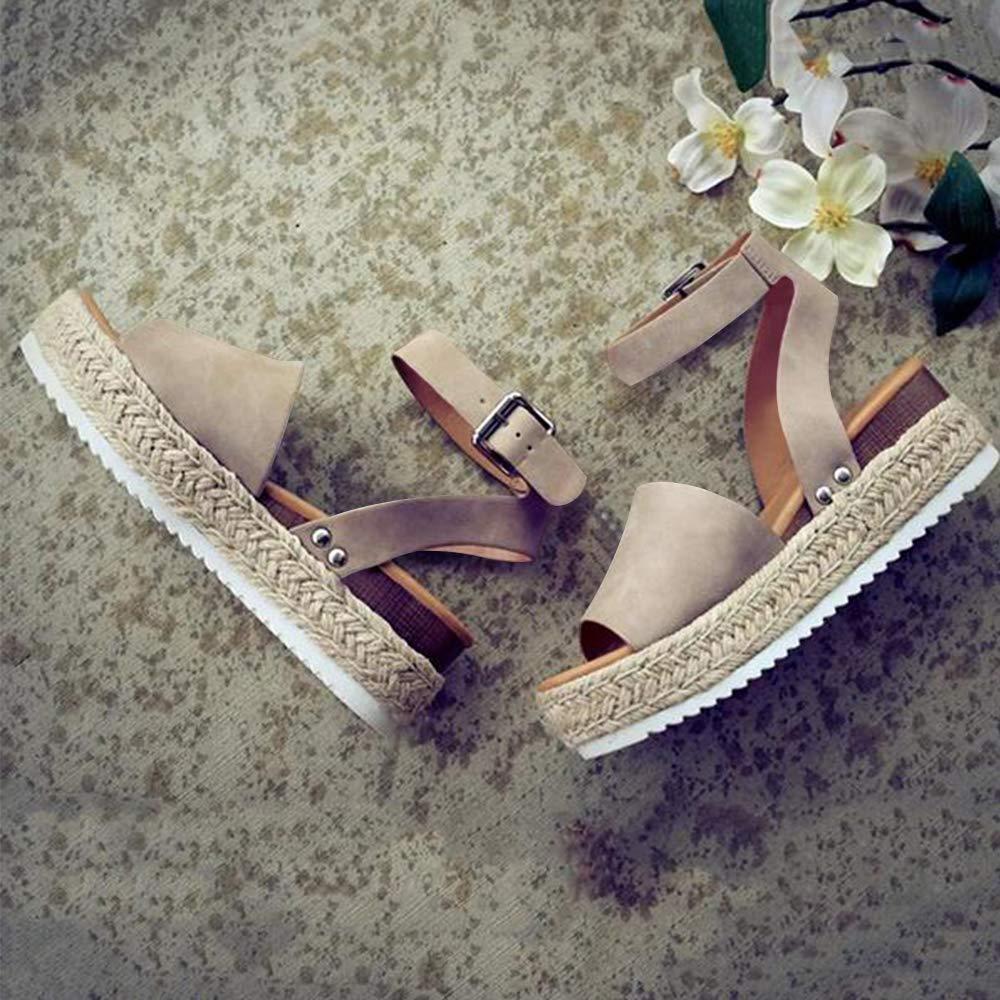 FIRENGOLI Sara Love Womens Wedges Sandal Open Toe Ankle Strap Trendy Espadrille Platform Sandals Flats Black-2 42