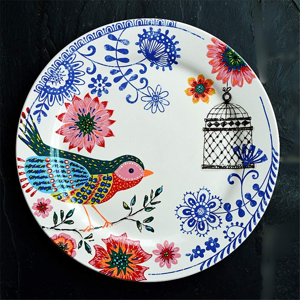 YUWANW Apenada Vintage | país francés vajilla de cerámica Carrefour espíritu pájaro Decorativo Placa de hogar Placa Plana: Amazon.es: Hogar
