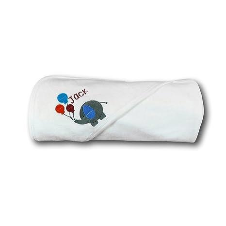 Toalla con capucha personalizada bordada con diseño de elefante, regalo para recién nacido, toalla