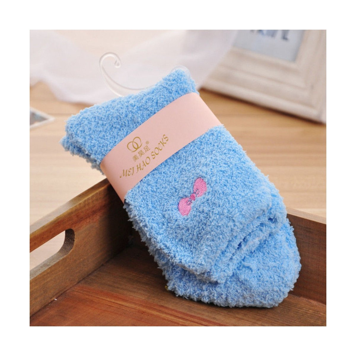 a6291cc14a5 Women s Candy Color Sweet Bow Fuzzy Socks Autumn Winter Cozy Socks Bed Socks