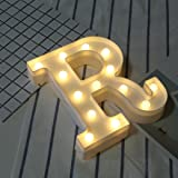 "Hot Sale Alphabet LED Letter Lights, Keepfit Light Up White Plastic Letters Standing Hanging for Home Party Bar Wedding Decoration (R, 8.7""x7.1""x1.8"")"