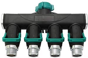 Riemex 4 Ways Garden Hose Splitter Metal Hose Connector, Easy Grip, Easy to Open