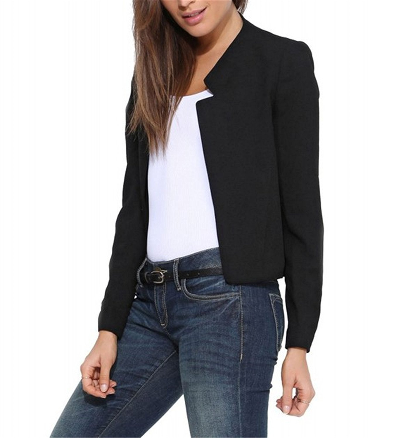 Toping Fine Spring Autumn New Women's Short Blazer Coat Candy Color Casual Suit Blazer and Jacket Solid Female Blazers WhiteMedium by Toping Fine wool-outerwear-coats (Image #2)