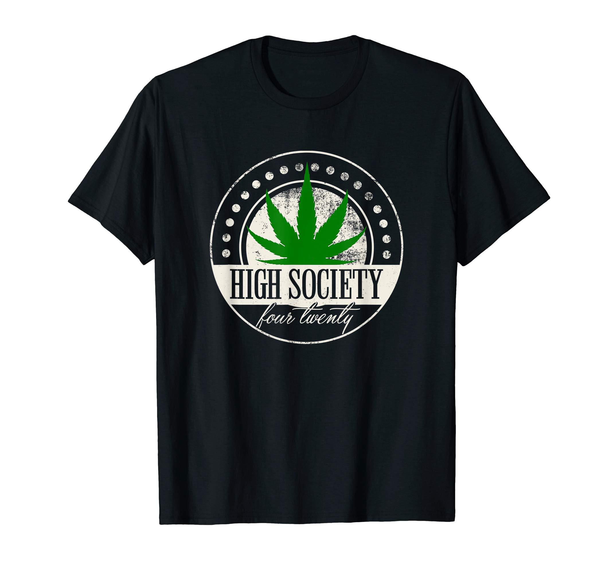 High Weed Society Four Twenty Marijuana Leaf Smoker Lover T-Shirt