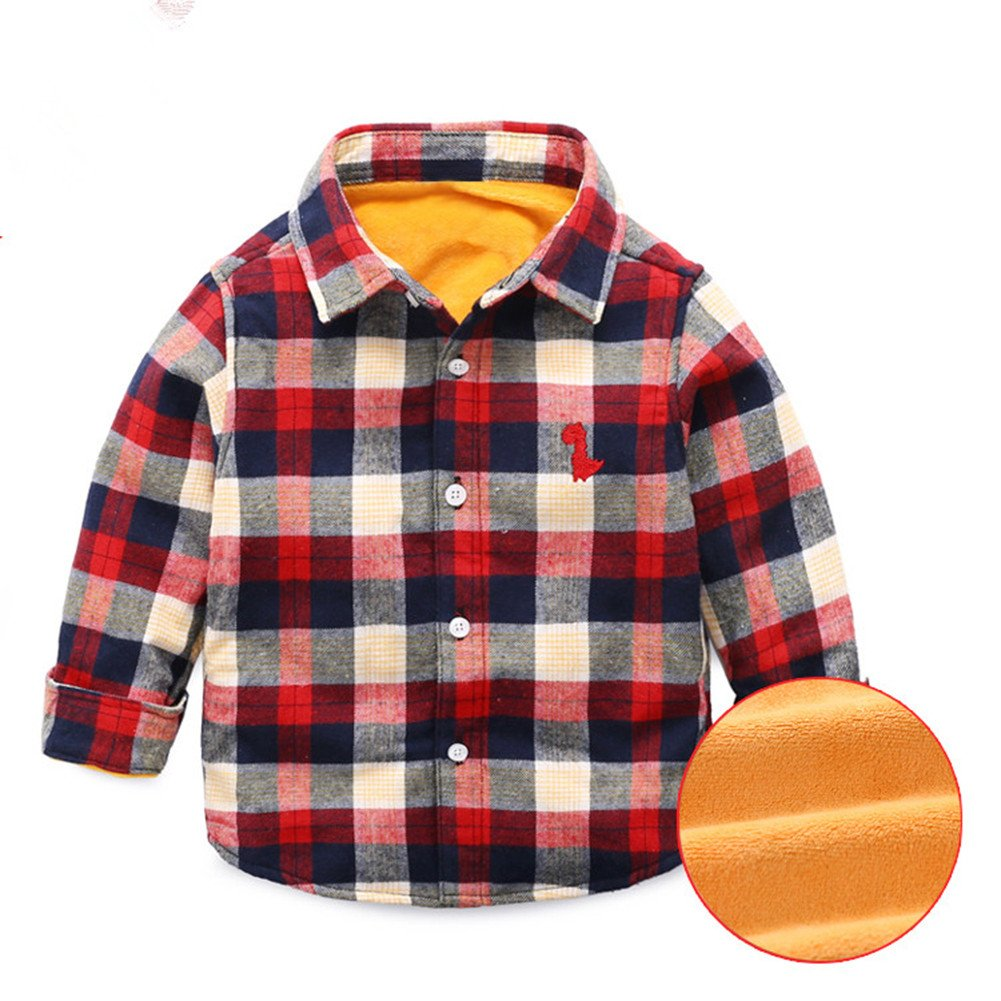 Mud Kingdom Boys' Winter Plaid Shirt Fleece SS0289