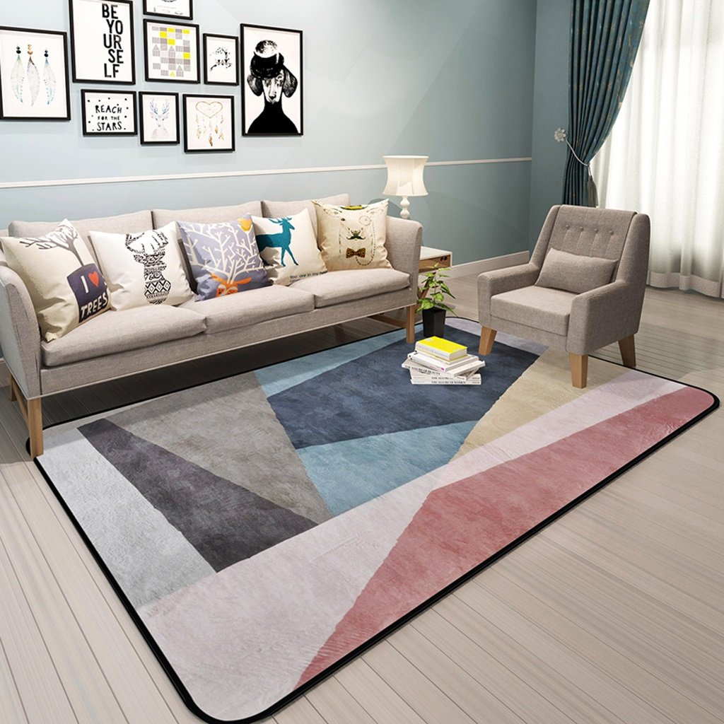 Hyun times Carpet Scandinavian geometric pattern living room simple modern bedroom full shop coffee table sofa home bedside mats ( Color : A , Size : 120180cm )