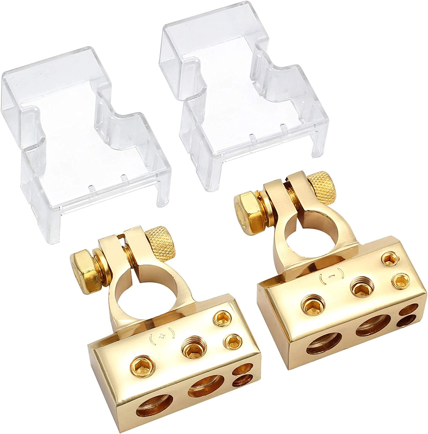 Golden eSynic 2PCS Car Battery Terminal Connectors with Voltmeter Covers 0//4//8 Or 10 Gauge AWG Positive Negative Battery Post Clamp and Shims for Car Audio Modification