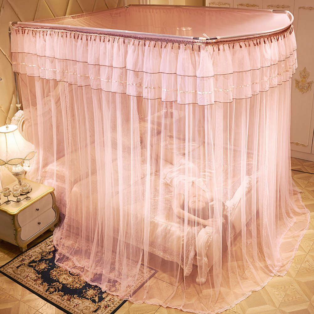 U-shaped telescopic mosquito net, Floor stand Princess Double Home Bed canopy-D Twin2