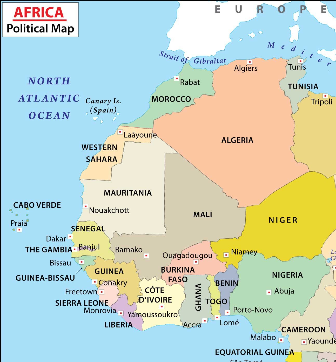 Amazoncom Africa Political Map 36 W x 388 H Office Products