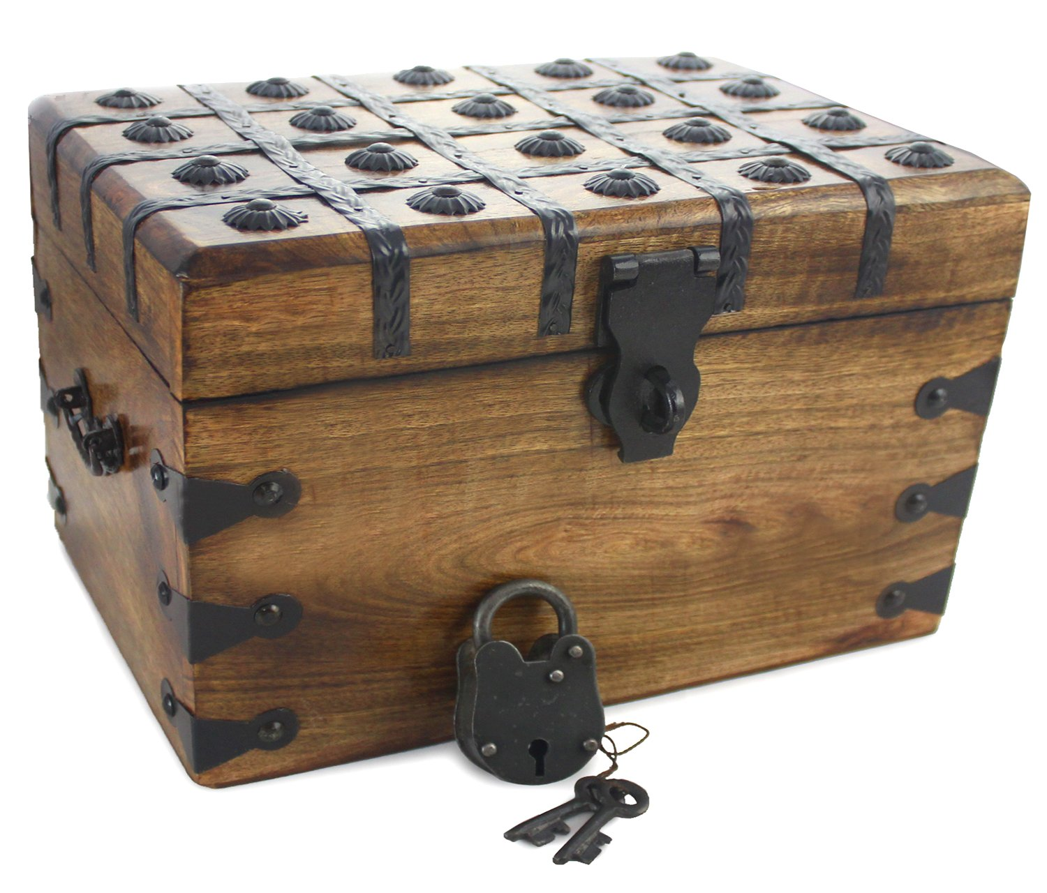 Well Pack Box Large Antique Style Wooden Pirate Treasure Chest 12'' x 8'' x 7'' Strong Box With Authentic Iron Master Lock And Skeleton Key