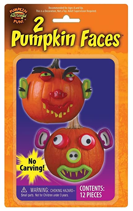 set of 2 halloween pumpkin face push ins like mr potato head for pumpkins by