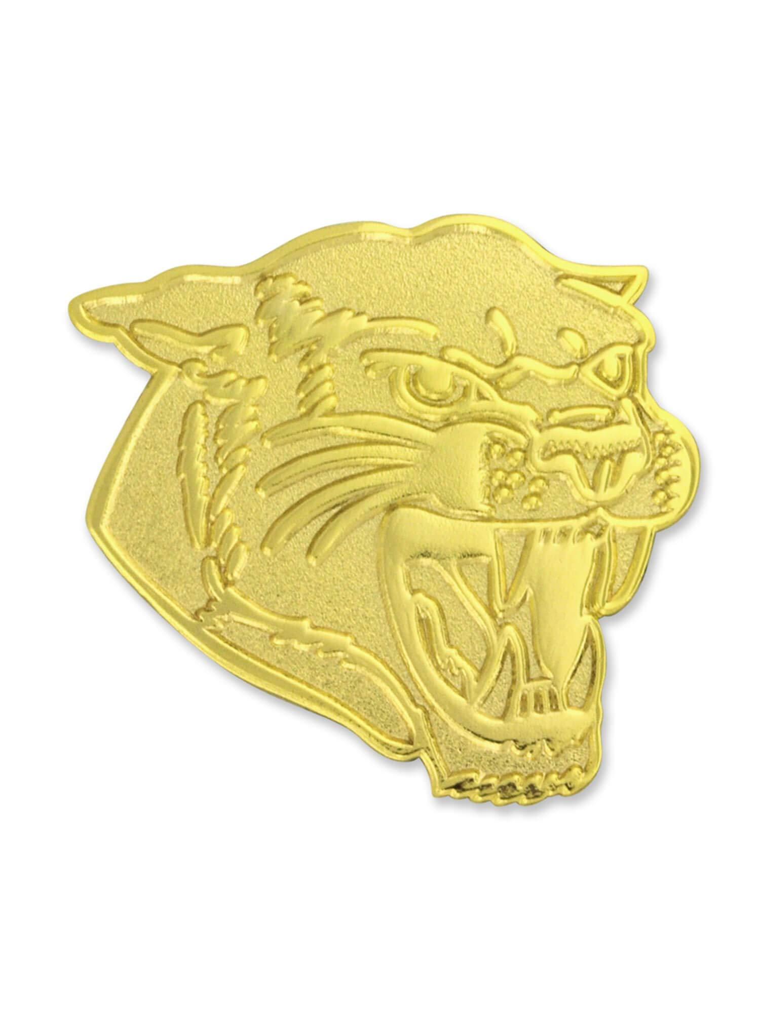 PinMart Gold Chenille Cougars Mascot Letterman's Jacket Lapel Pin 1''
