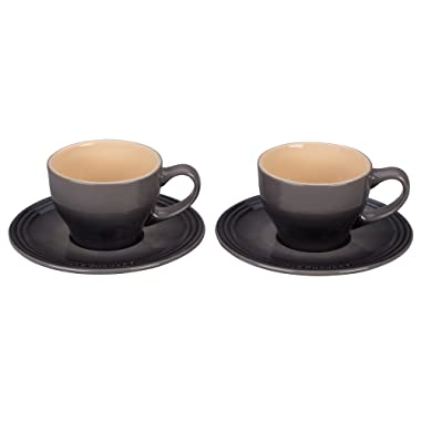 Le Creuset Stoneware Set of 2 Cappuccino Cups and Saucers - Oyster