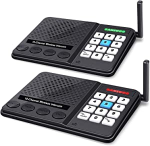 Wireless Intercom System - 10 Channel 3 Codes Room to Room Intercom System Long Range 1 Mile Intercomes Wireless for Home Office Business (2 Pack)