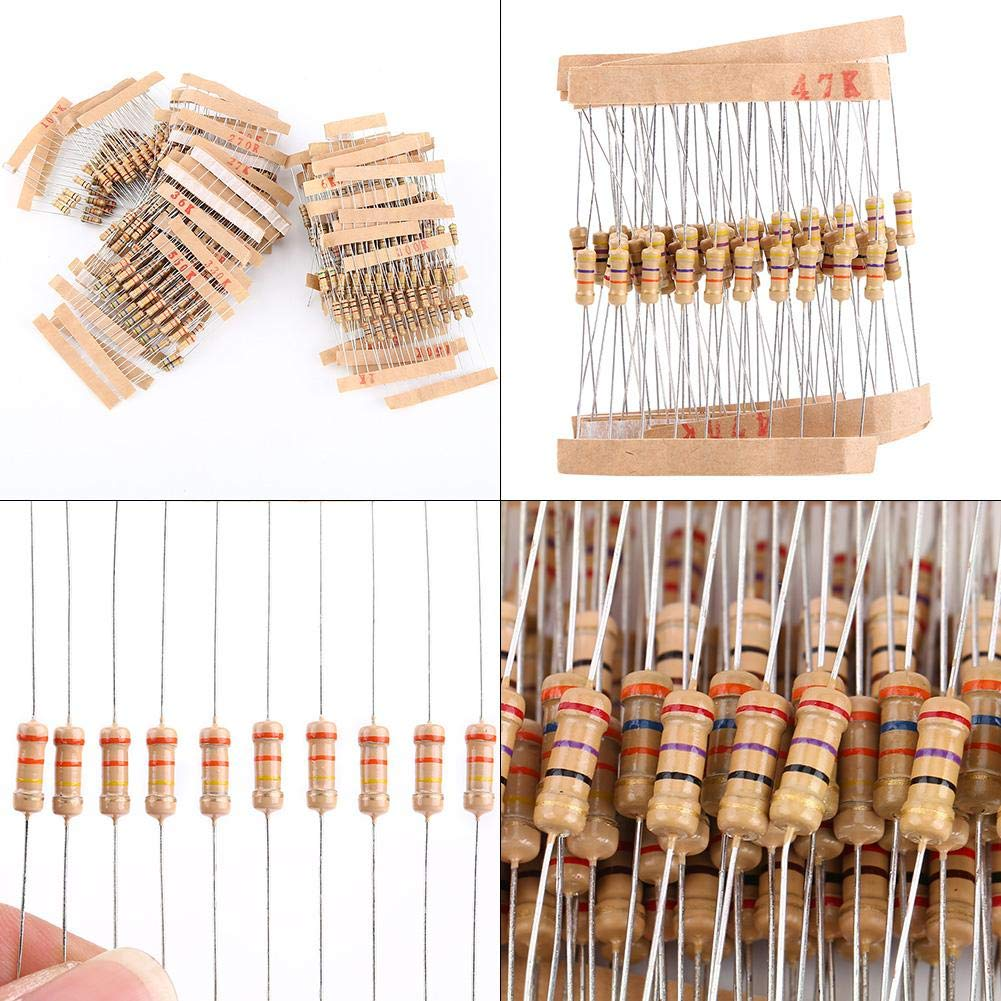 1000pcs Resistor Kit Assortment 100 Values 1//2W 1-10M Ohm Carbon Resistors Electronic Components