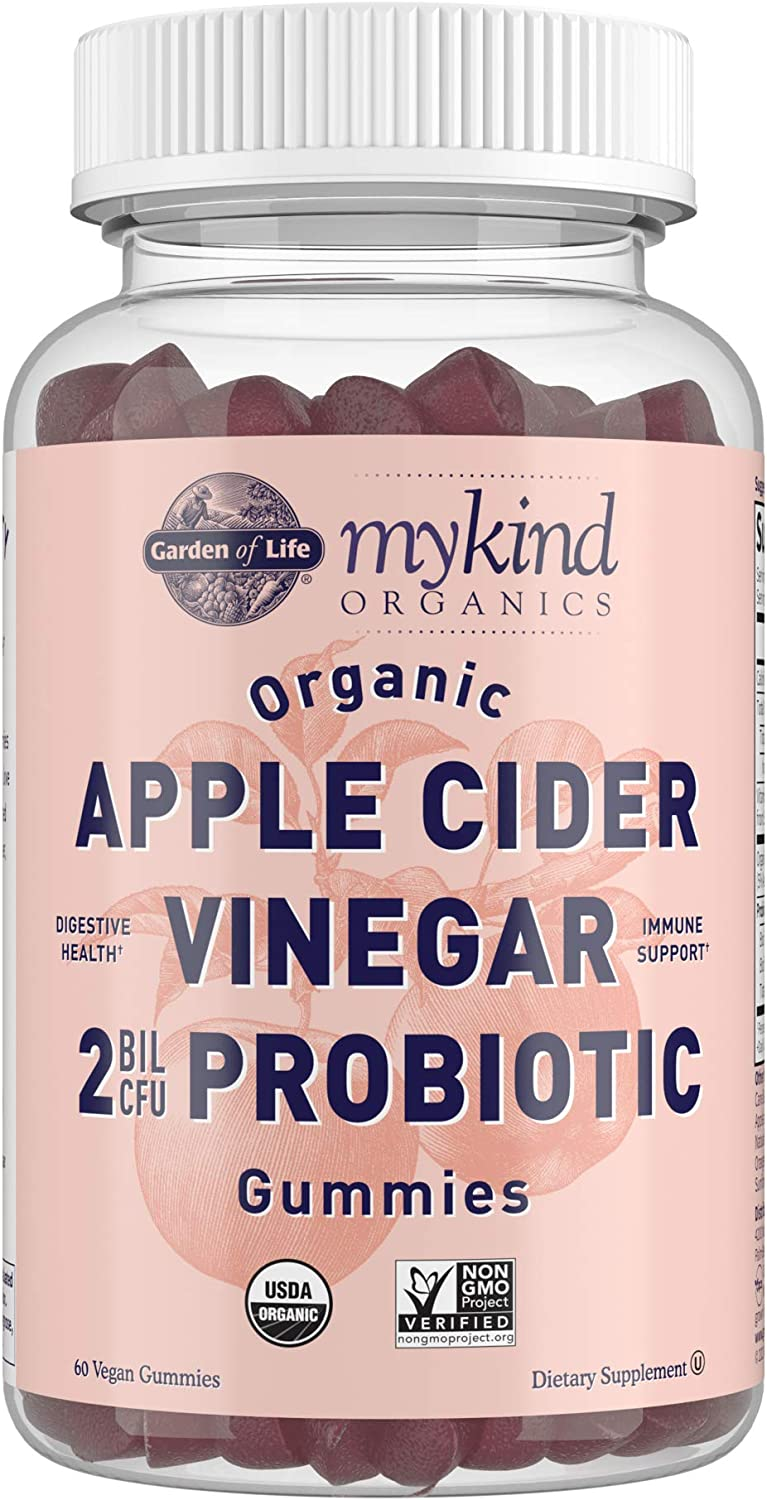 Apple Cider Vinegar Probiotic Gummies by Garden of Life mykind Organics - USDA Organic ACV Gummy Vitamins, 2 Billion CFUs, Whole Food Vitamin B12-60 Vegan, Non-GMO Gummies for Digestion & Immunity
