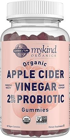 Apple Cider Vinegar Probiotic Gummies by Garden of Life mykind Organics - USDA Organic ACV Gummy Vitamins, 2 Billion CFUs, Whole Food Vitamin B12 - 60 Vegan, Non-GMO Gummies for Digestion & Immunity