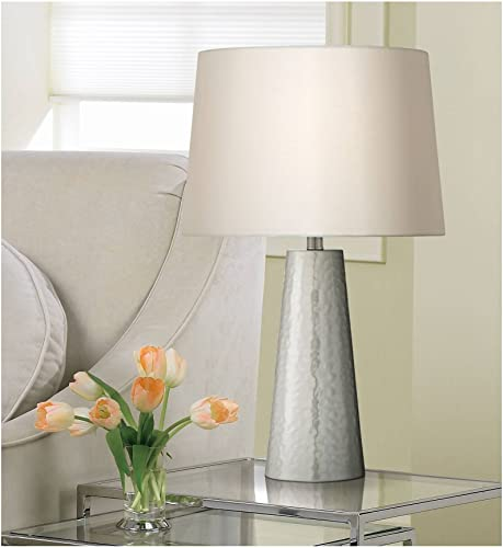 Modern Contemporary Style Table Lamp Silver Leaf Hammered Metal Cylinder Off White Fabric Drum Shade Decor
