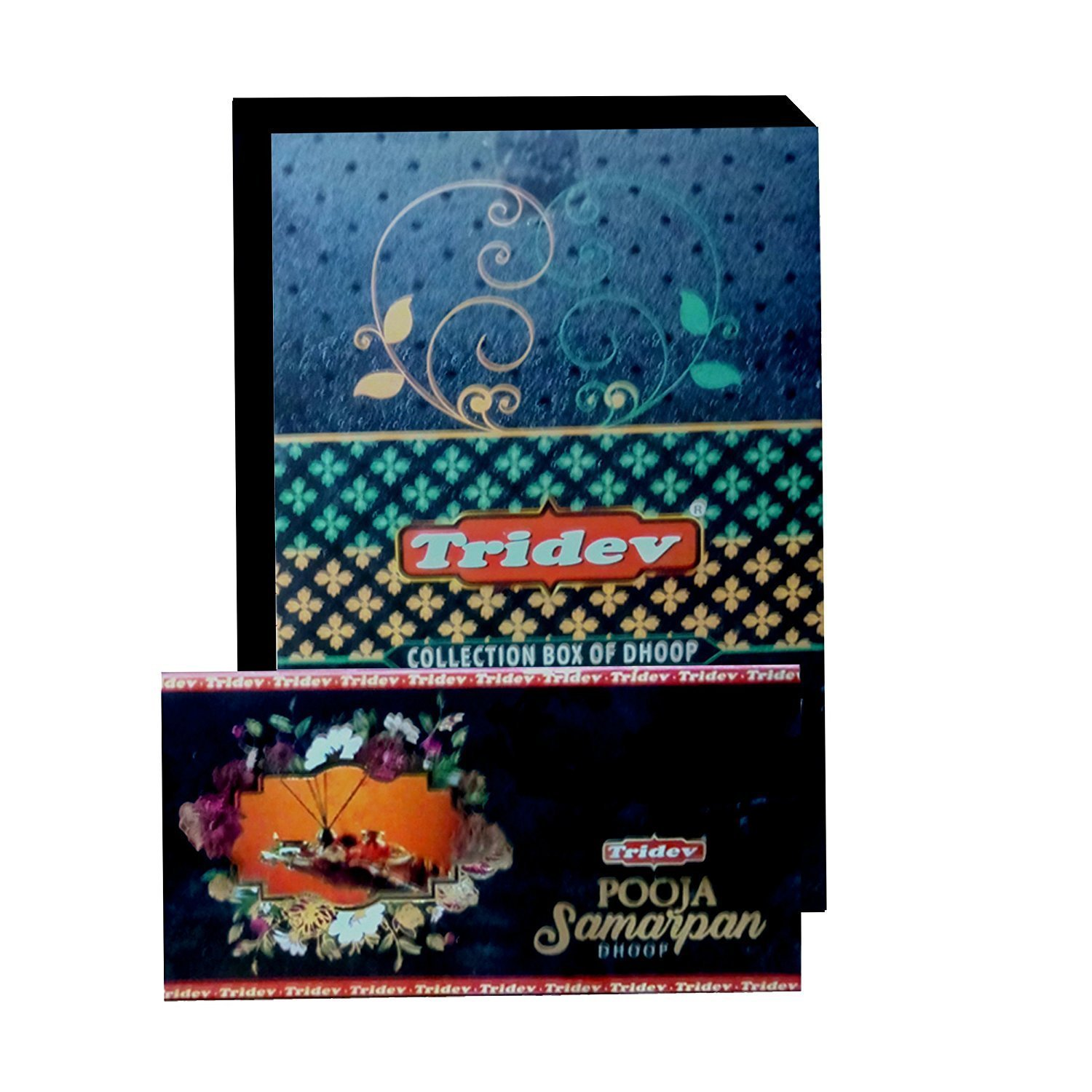 Divine Incense Holder Free withTridev Pooja Samarpan Premium Dhoop incense 1440 Grams Box | 12 Packs of 120 Grams in a Box | Export Quality by Divine